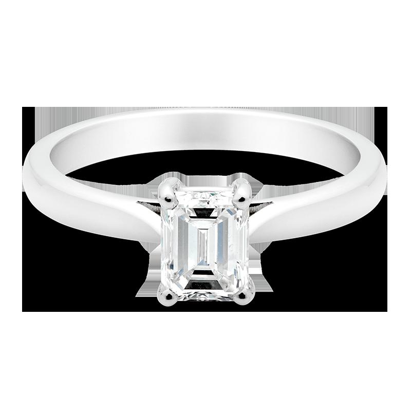 Emerald Cut Solitaire, Platinum