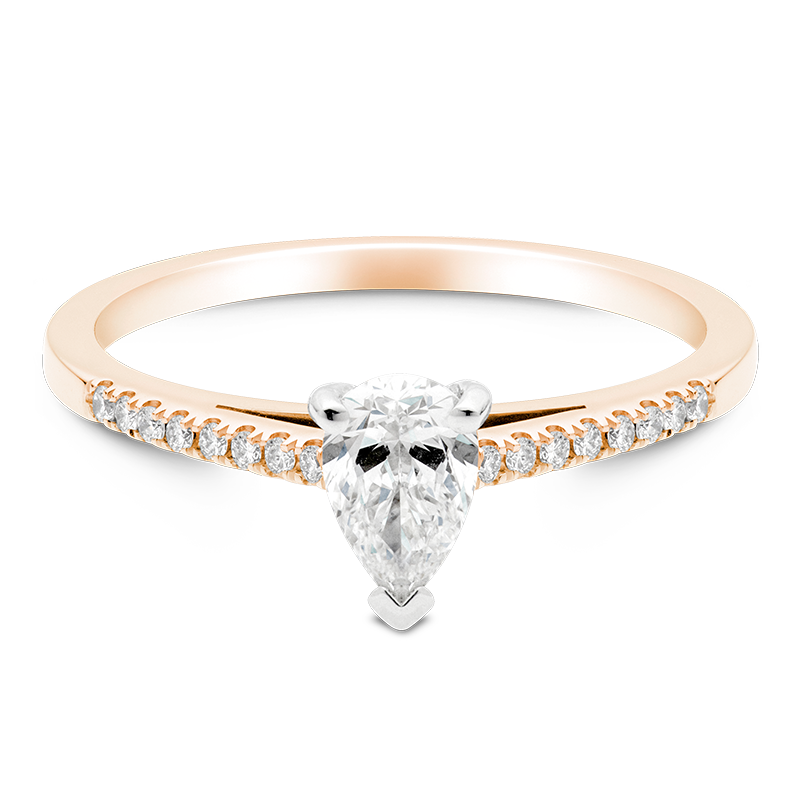 Pear Set with Diamonds, 18ct Rose Gold
