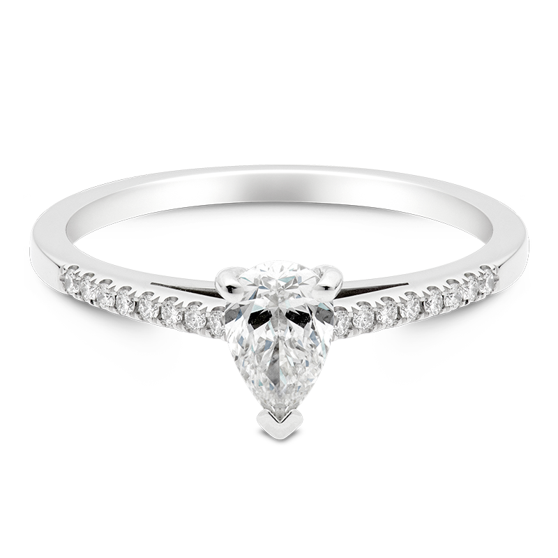 Pear Set with Diamonds, 18ct White Gold