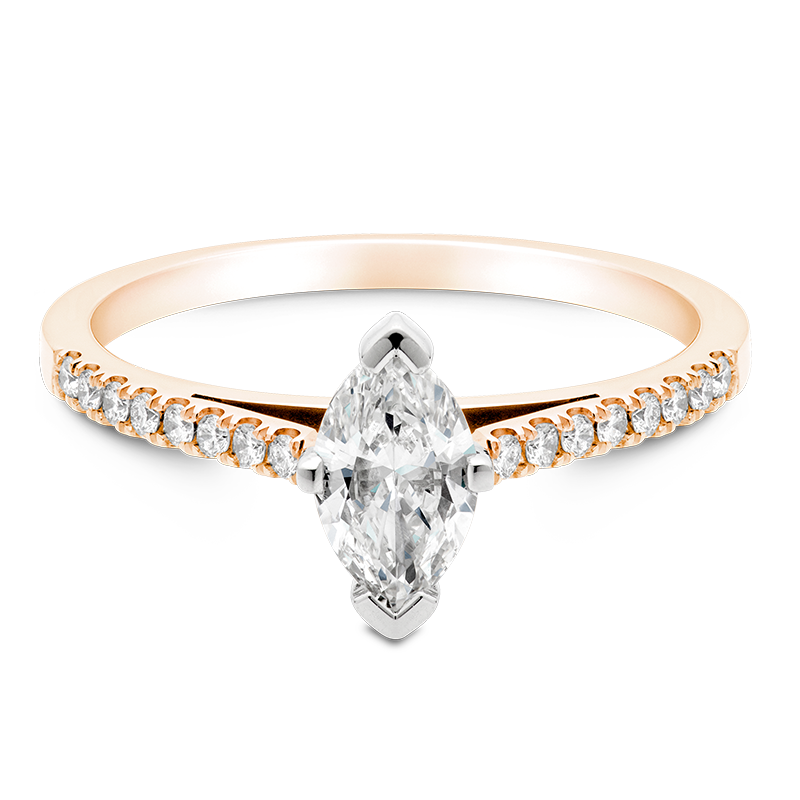Marquise Set with Diamonds, 18ct Rose Gold