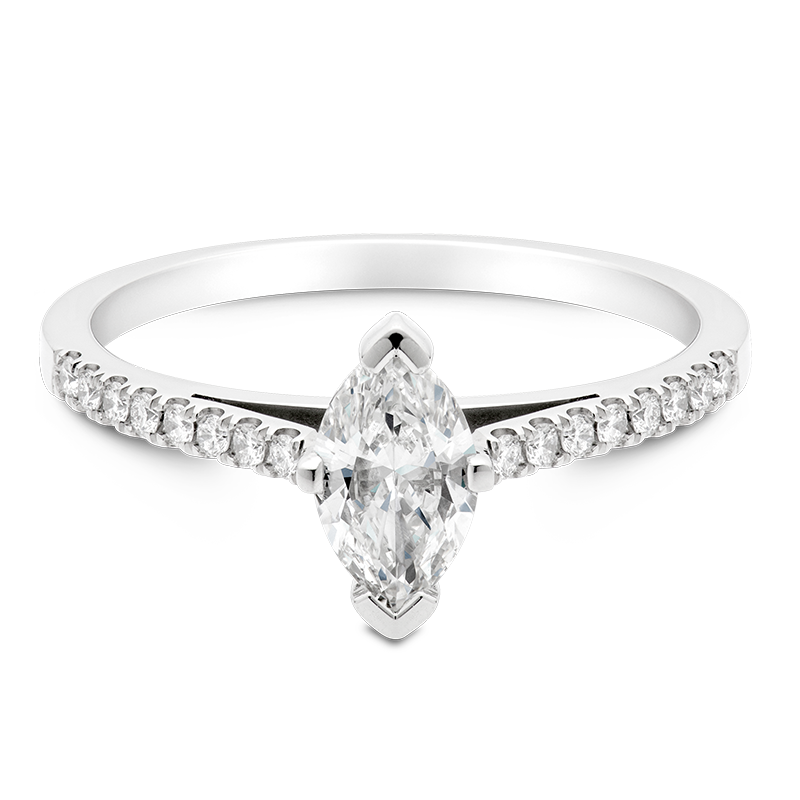 Marquise Set with Diamonds, 18ct White Gold