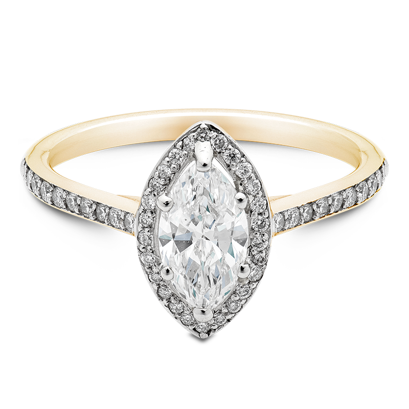 Marquise Cut Halo, 18ct Yellow Gold