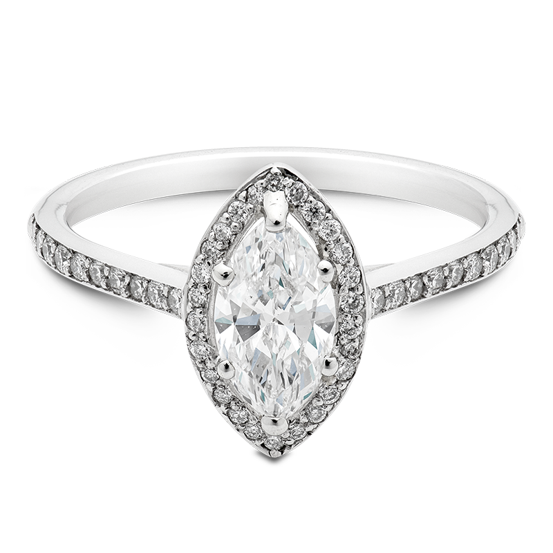 Marquise Cut Halo, 18ct White Gold