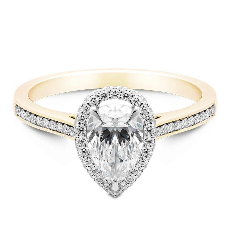 Pear Cut Halo, 18ct Yellow Gold