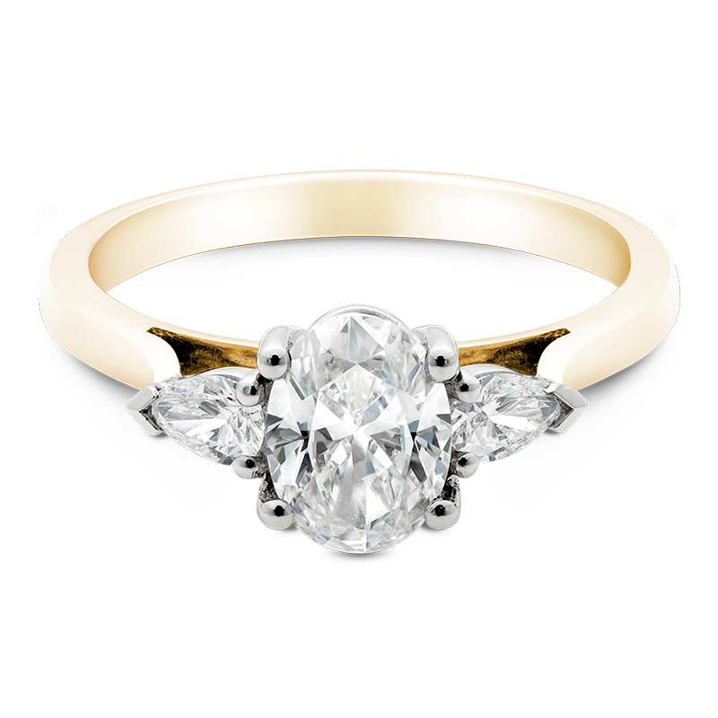 Oval Cut Trilogy, 18ct Yellow Gold