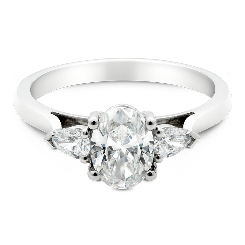 Oval Cut Trilogy, 18ct White Gold