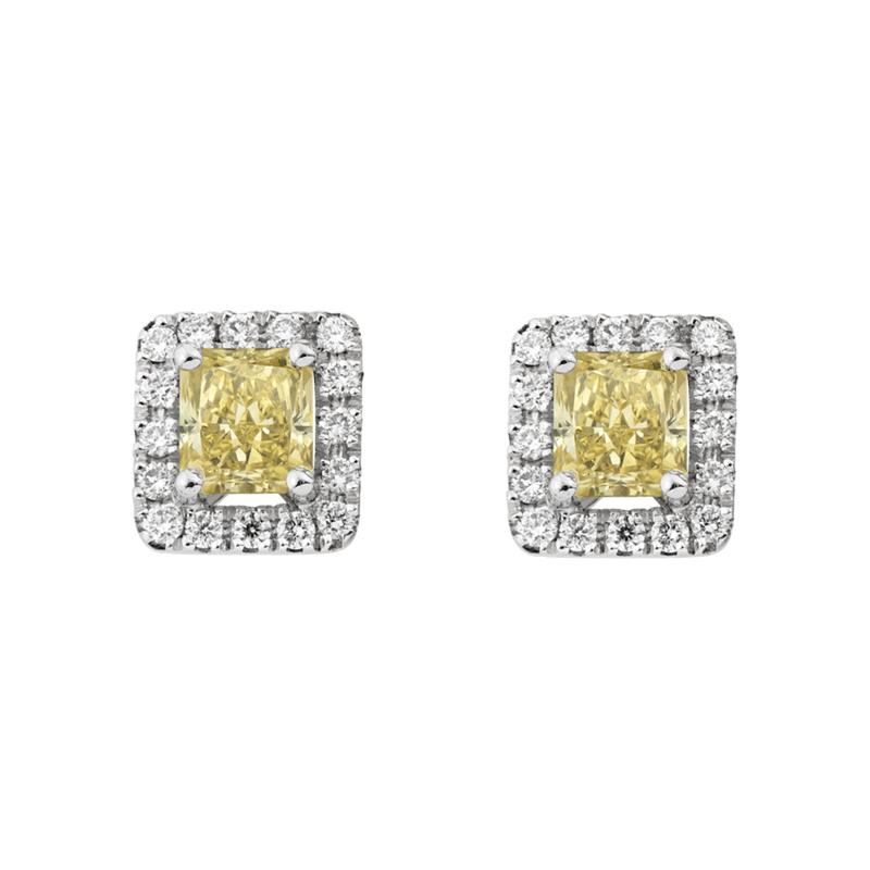 Radiant Cut Yellow Diamond Studs