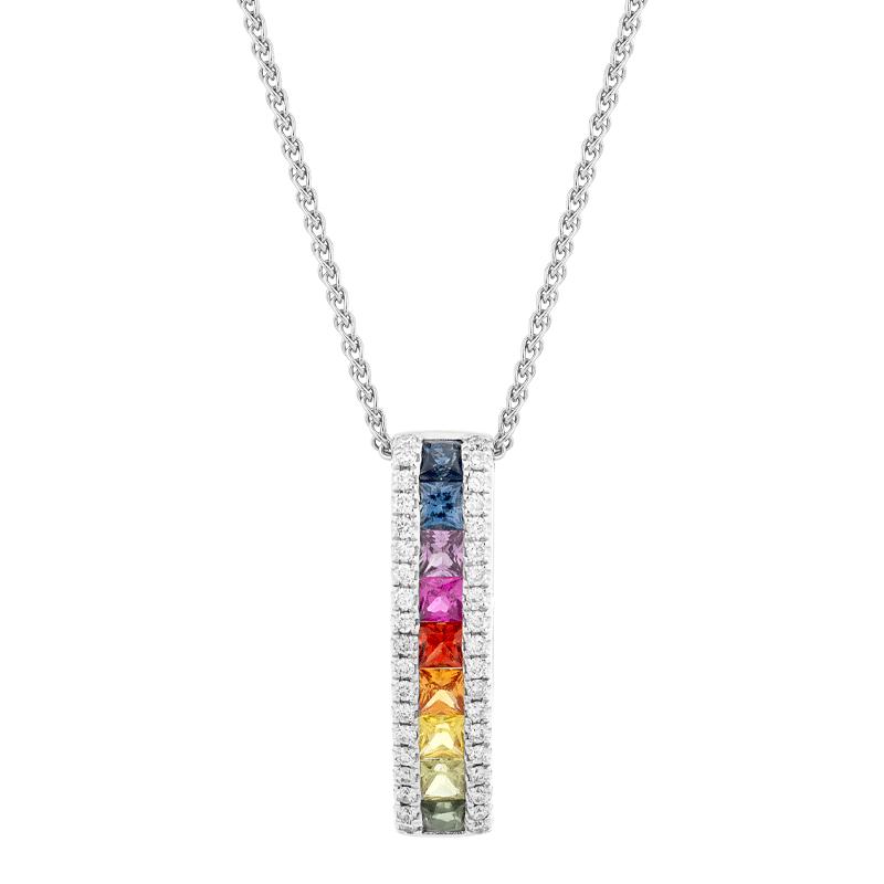 Rainbow Sapphire Princess Cut Pendant