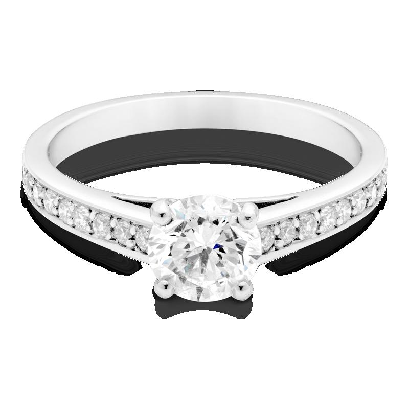 Round Brilliant Cut Diamond, Set With Diamond Shoulders, Platinum