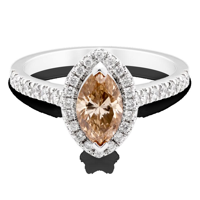 Marquise Cut Diamond, Set With Diamond Halo & Shoulders, Platinum