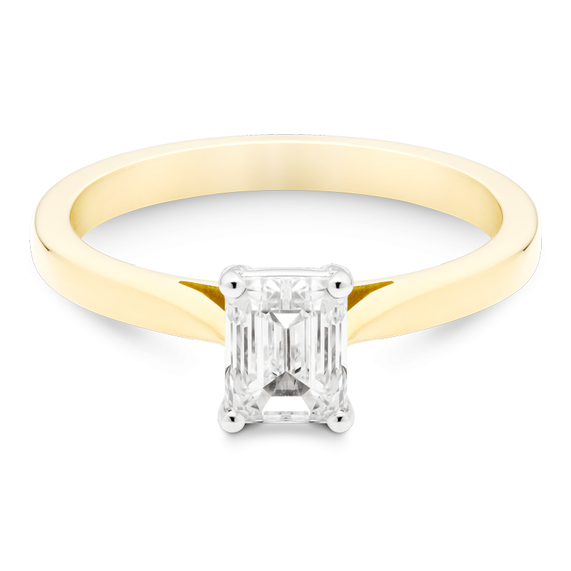 0.91ct Emerald Cut Solitaire, 18ct Yellow Gold
