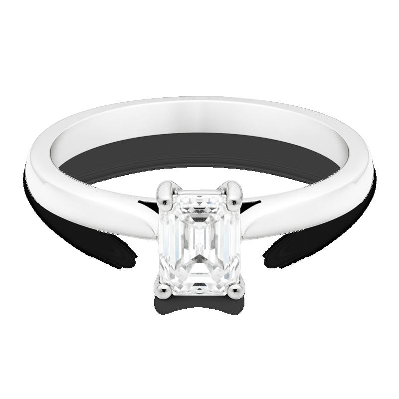 0.83ct Emerald Cut Diamond, Platinum