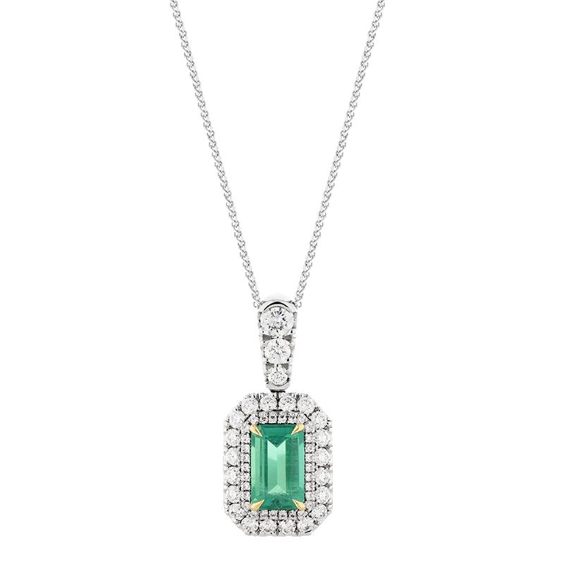 Emerald Double Halo Pendant