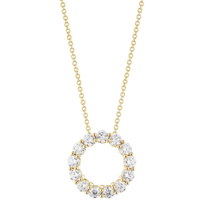Open Circle Style Pendant, 18ct Yellow Gold