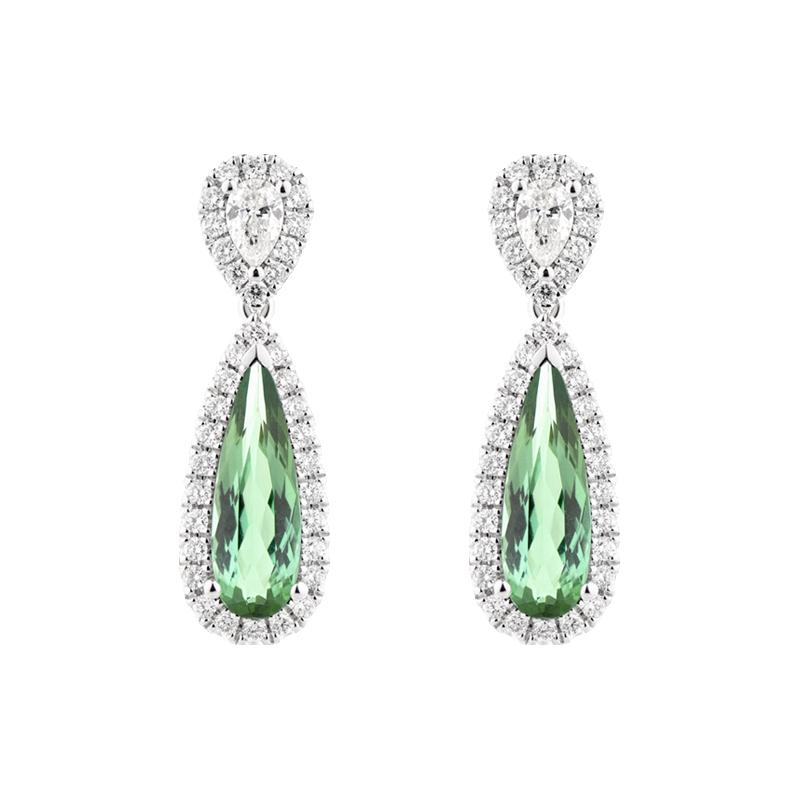 Pear Cut Green Tourmaline Drop Earrings